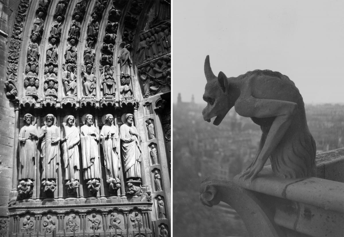Left: The central portal of Notre Dame Cathedral in Paris, depicting six of the apostles. Right: A Gargoyle on the cathedral in 1930.