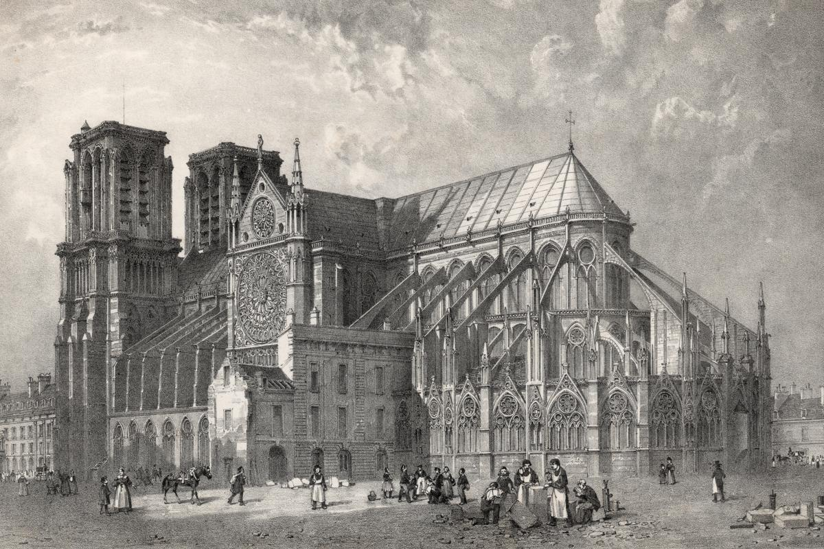 An image of the Notre Dame from 1800. The spire was not added until the 19th century.
