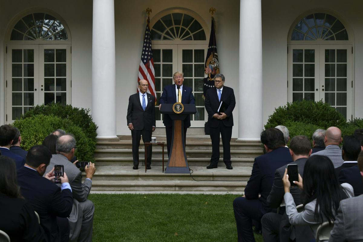 "At the 2019 White House Rose Garden announcement of an executive order for citizenship data, then-President Donald Trump was joined by then-Commerce Secretary Wilbur Ross (left) and then-U.S. Attorney General William Barr (right), who said the data ""may b"