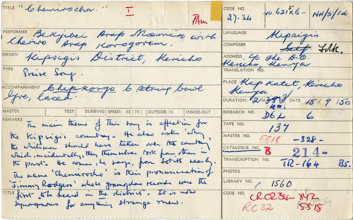"""Hugh Tracey's original field notes for """"Chemirocha I."""" They read: """"The main theme of this song is affection for the Kipsigis country. He also asks 'why the white man should have taken over the country' which incidentally, they themselves took from others"""