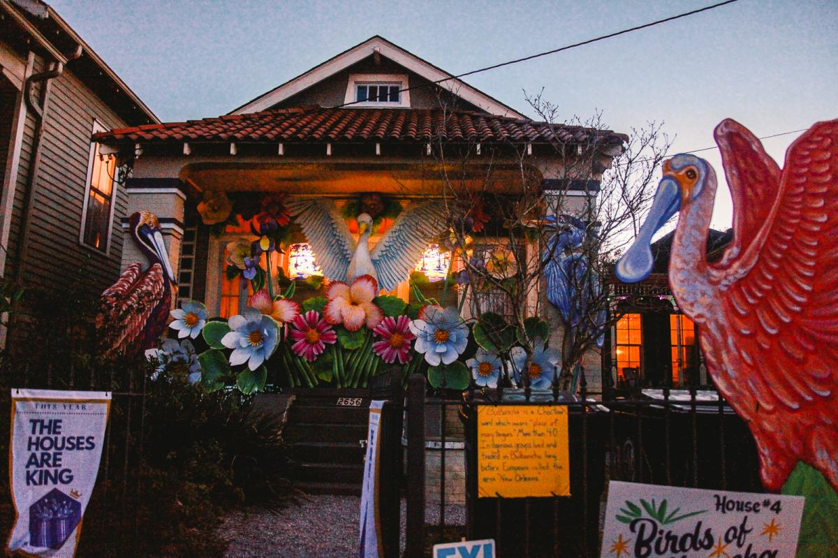 """The """"Birds of Bulbancha"""" house float made by the Krewe of Red Beans in New Orleans."""