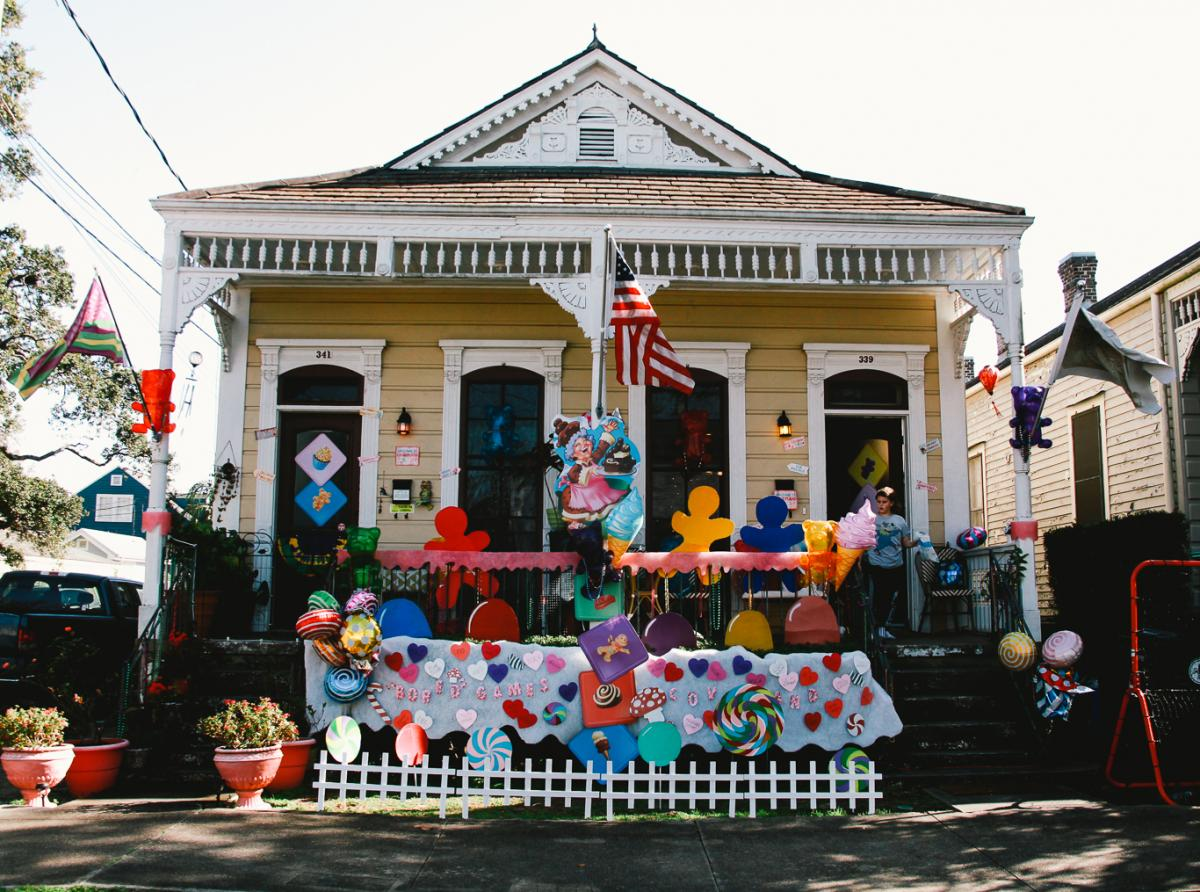 """The """"Candyland"""" themed house float of Chrissy Whalin and her 12-year-old son Zephyr Cooke is one of more than a hundred in the Algiers Point neighborhood of New Orleans."""