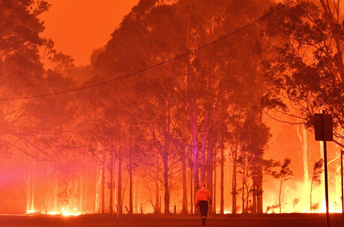 A firefighter walks past burning trees during a battle against bushfires around the town of Nowra in the Australian state of New South Wales on December 31, 2019.