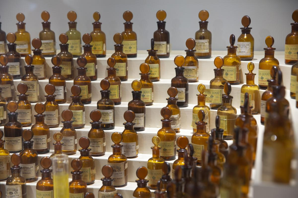 The perfumer's organ that belonged to Jean Carles, the early 20th century creator of perfumes including Miss Dior and Ma Griffe by Carven, at the International Perfume Museum in Grasse.