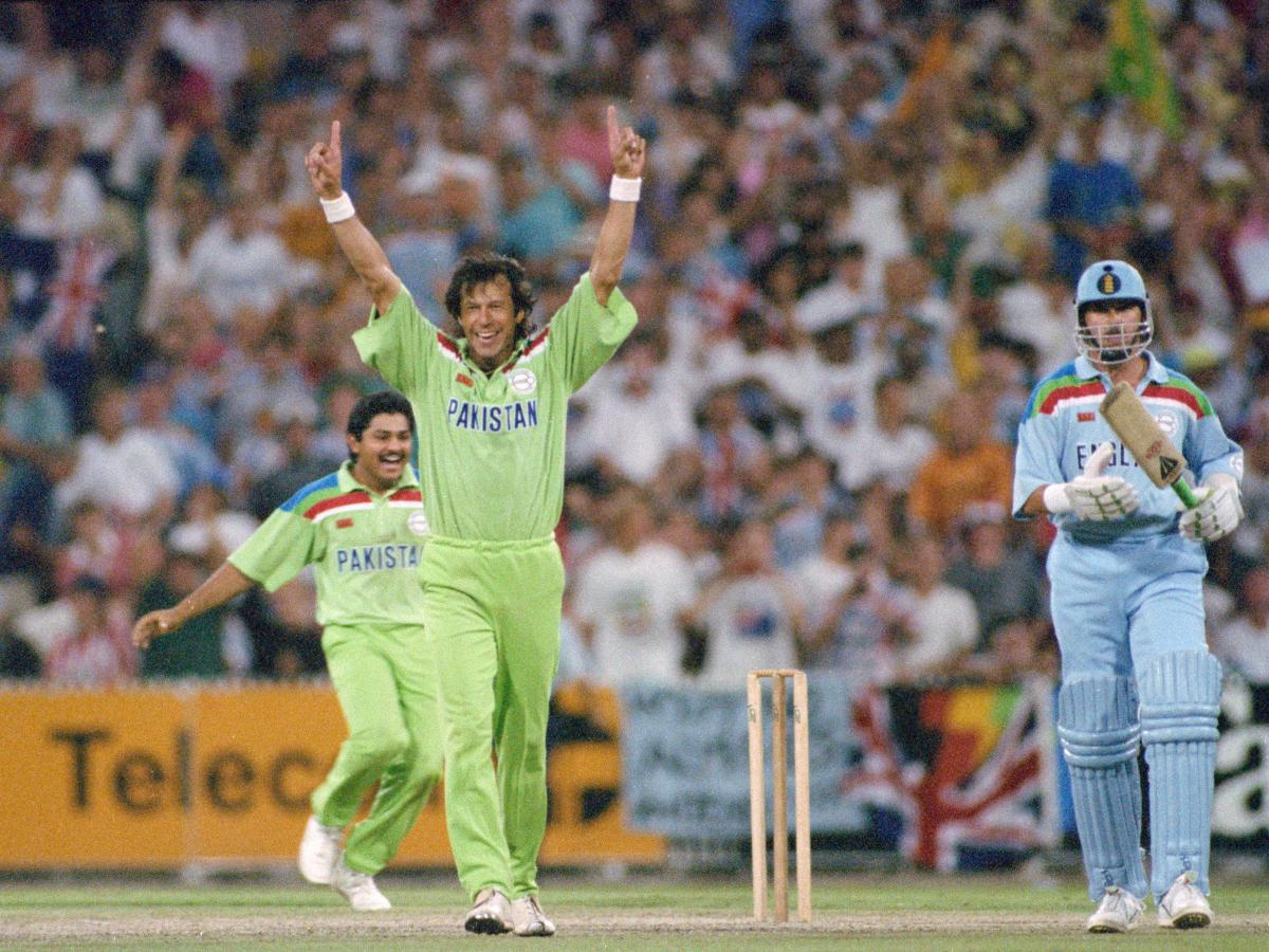 At the 1992 World Cup, Pakistan captain Imran Khan — now the country's prime minister — celebrates his country's win.