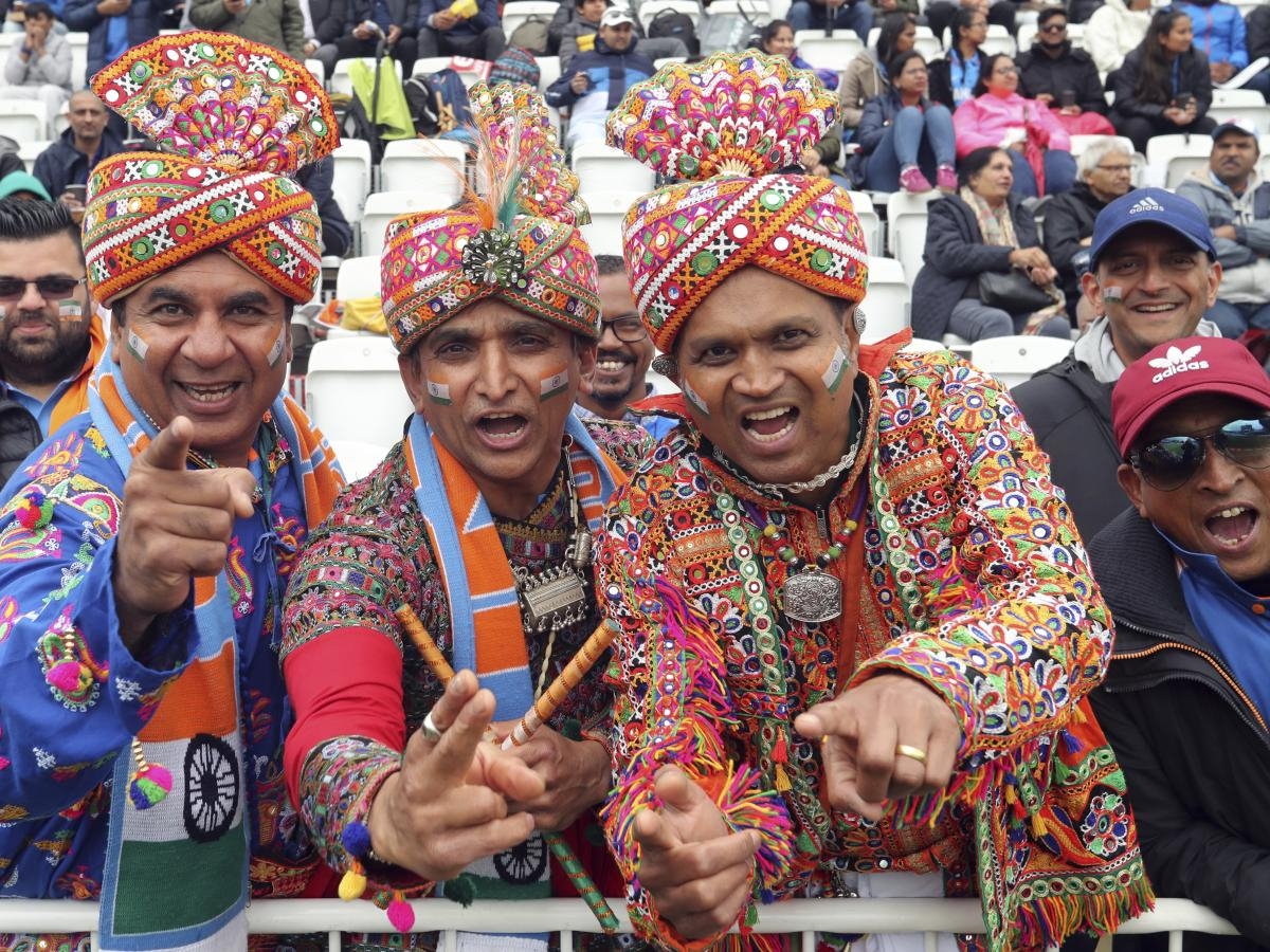 India's fans await the start of Thursday's Cricket World Cup match between India and New Zealand in Nottingham, England.