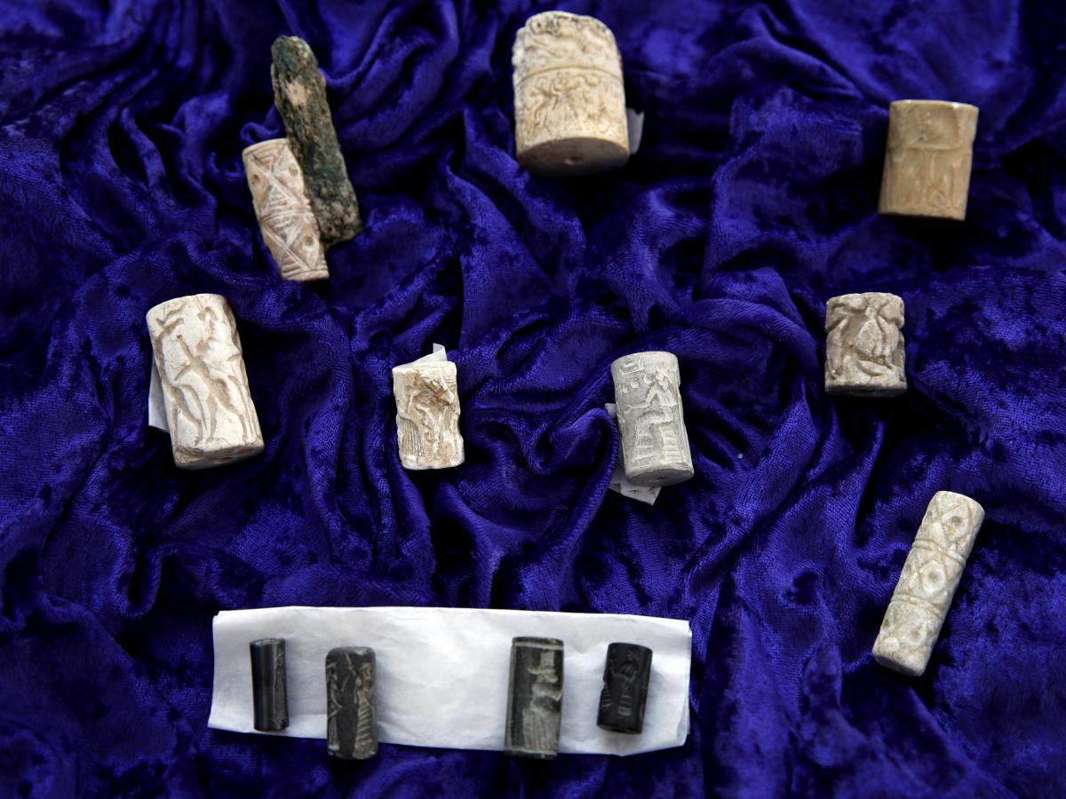 Ancient cylinder seals from Iraq were among the objects returned by U.S. Immigration and Customs Enforcement, after being smuggled into the United States in violation of federal law.