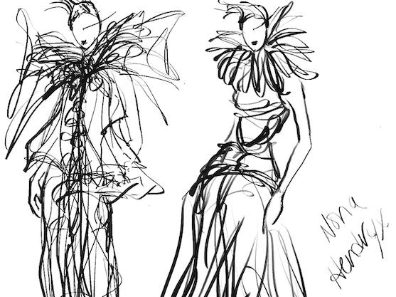 Costume sketch by Dianne Smith of the gown Nona Hendryx will wear in Lincoln Center's Juneteenth commemoration.
