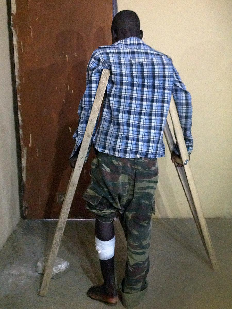 The Nigerian military identified this man as a former member of Boko Haram. He was captured after being hit in the leg by a bullet.