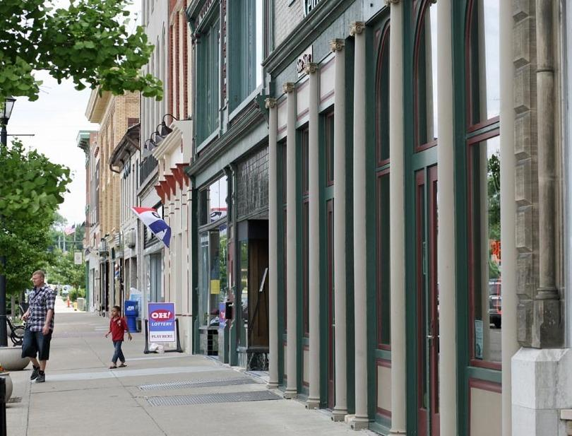 The center of Xenia is calm today. In 1974, the twister blew seven railroad cars off the railroad tracks downtown.