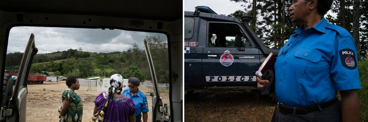 Ato Boropi (left) travels with another member of the Kafe Urban Settlers Women's Association and Goroka police to Henganofi, a town in the Eastern Highlands, to meet with a community divided by sorcery accusations.