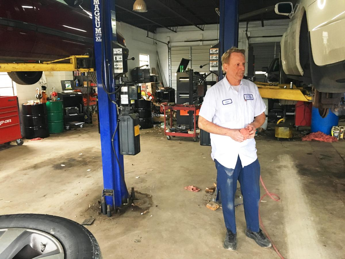 "Anthony ""Inky"" Smith has owned East Bend Auto Clinic and Tire in the town of East Bend, N.C., for 30 years. He says friends who used to make $30 or $40 an hour in manufacturing now earn minimum wage and struggle to make ends meet."