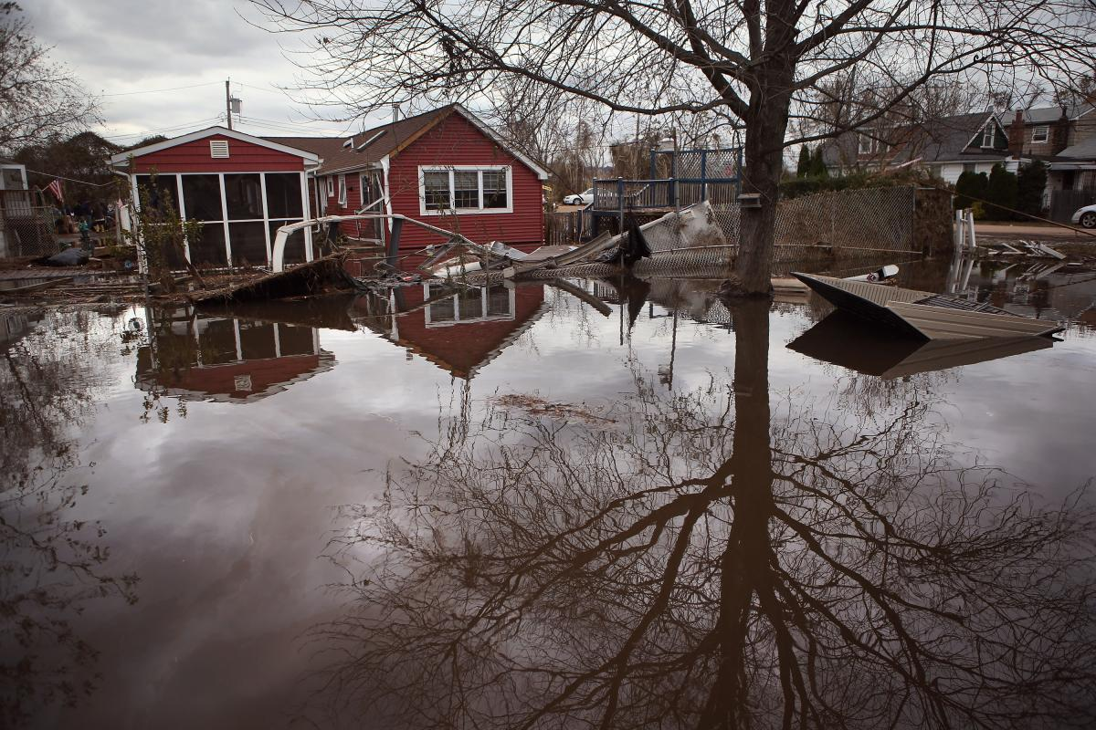In the Ocean Breeze area of Staten Island, water continued to flood neighborhoods on Nov. 1, 2012. Most homes in the seaside community were inundated by the ocean surge caused by Sandy.