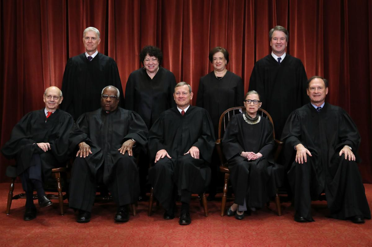 U.S. Supreme Court justices pose for their official portrait in the East Conference Room at the Supreme Court building on Nov. 30, 2018, in Washington, D.C.