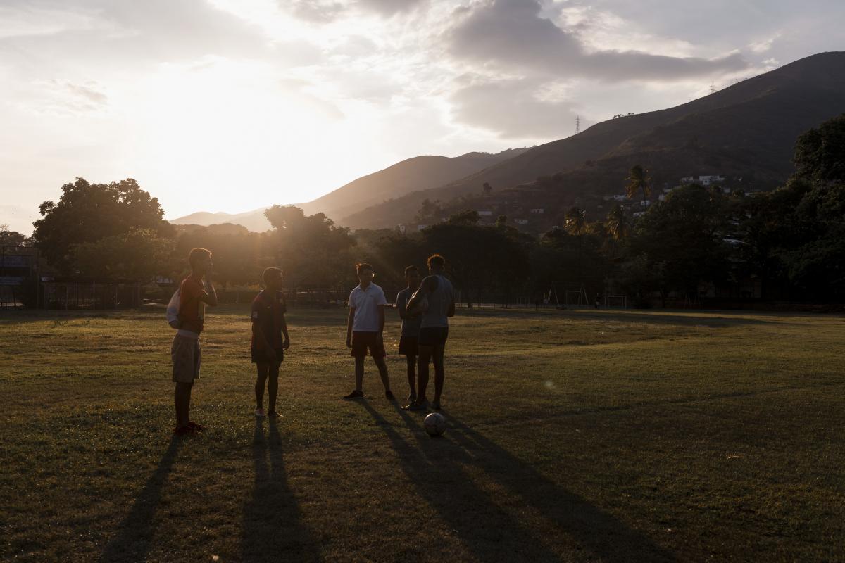 The sun sets after rugby practice at Hacienda Santa Teresa in May.