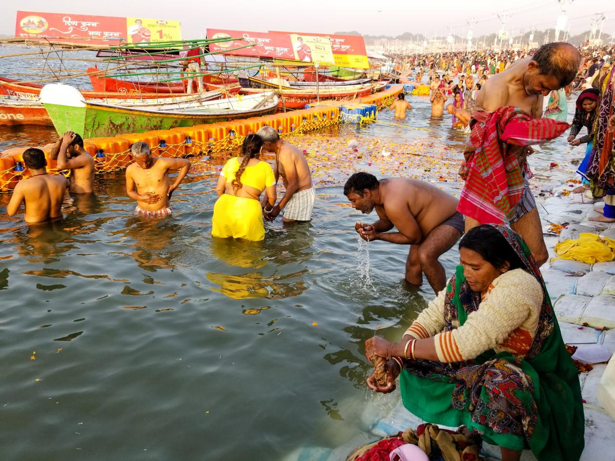 Hindu devotees bathe in the Ganges River in January at the Kumbh Mela festival in Prayagraj, formerly known as Allahabad.