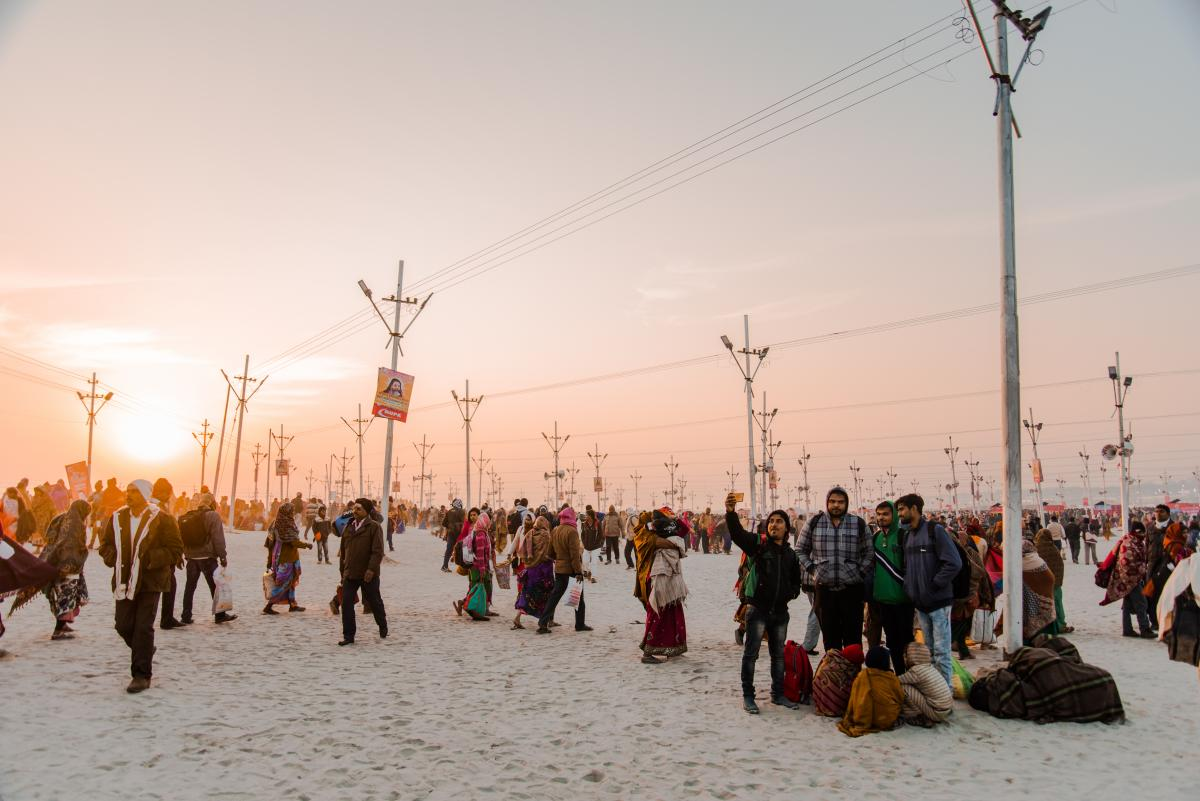 Pilgrims parade toward the banks of the Ganges River in January for the Kumbh Mela.