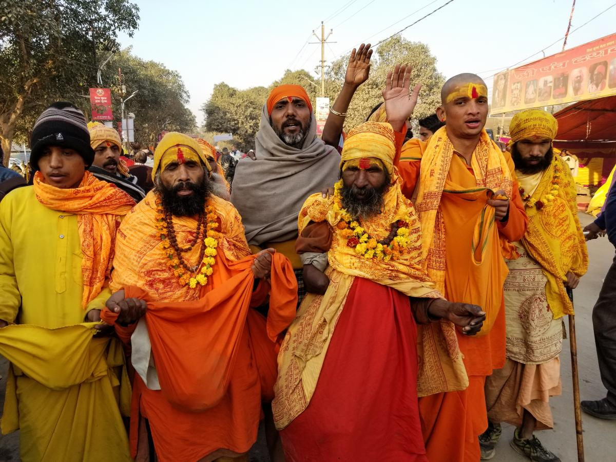 Hindu holy men sing and parade toward the banks of the Ganges River in January at the Kumbh Mela festival. Last year, the city hosting the festival changed its name from Allahabad to Prayagraj.