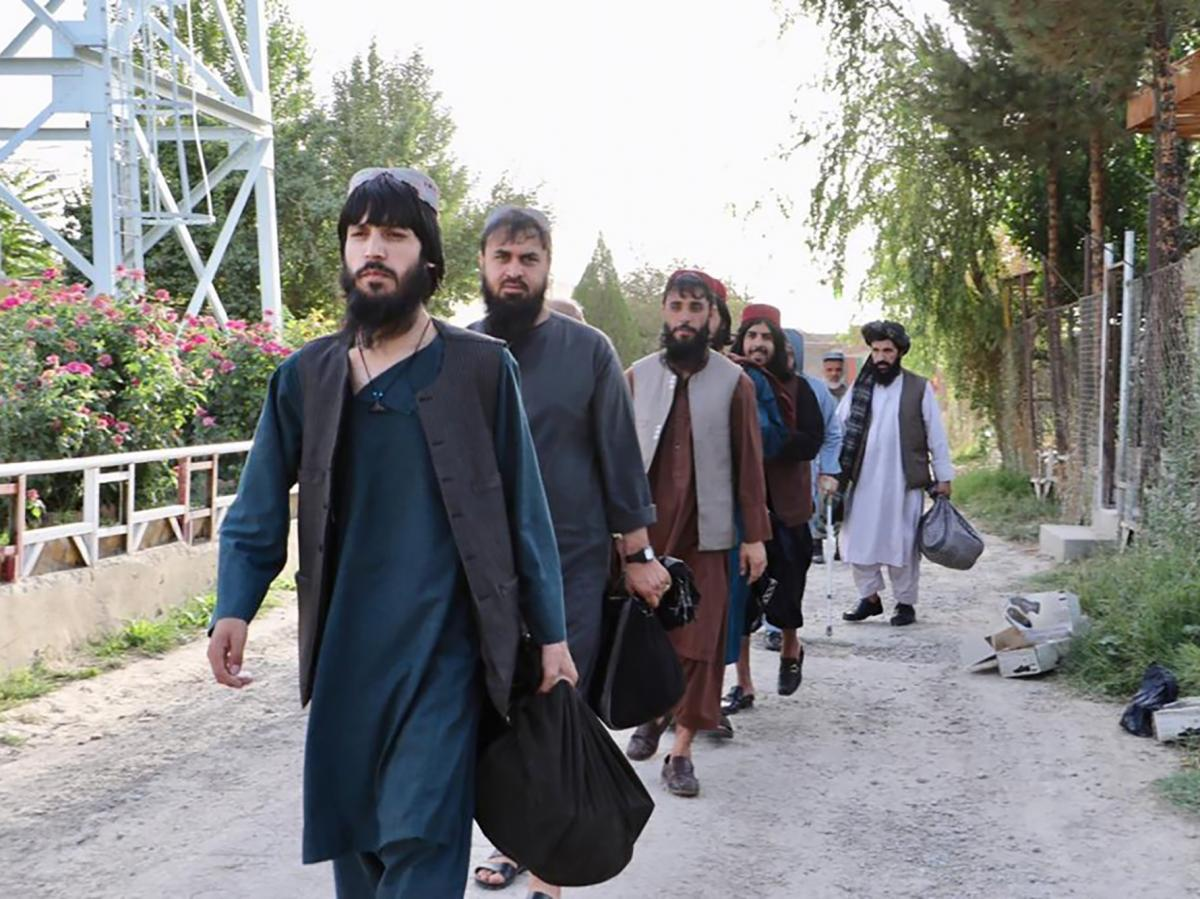 Taliban prisoners are released from Pul-e-Charkhi jail in Kabul, Afghanistan, on Aug. 13. The government is releasing Taliban prisoners to pave the way for negotiations between the warring sides in Afghanistan's protracted conflict.