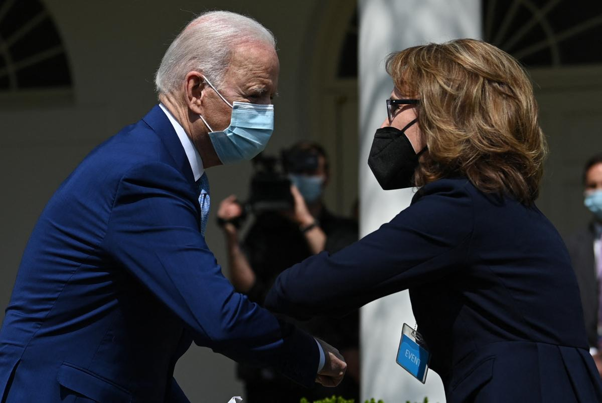 Biden greets former U.S. Rep. Gabrielle Giffords after speaking Thursday about gun violence prevention in the White House Rose Garden. Giffords and other advocates in favor of stricter gun laws attended the announcement.