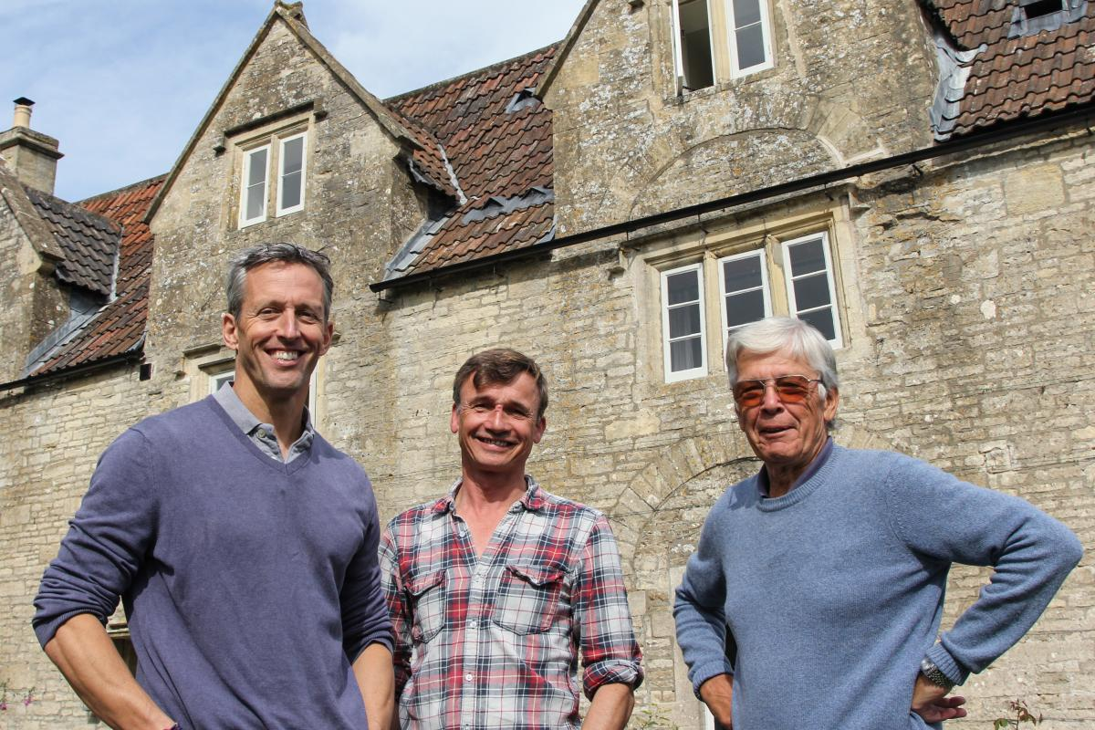 """(Left to right) Dom Moorhouse, an entrepreneur, Gerard Coles, who makes cider, and Trevor John, a retired accountant, are part of """"Save the Packhorse,"""" a team of villagers who raised more $1.3 million to buy and overhaul their local pub, after it was set"""