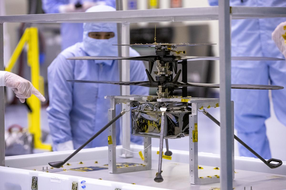 NASA's Mars helicopter and its cruise stage are tested at the Kennedy Space Center on March 10. The helicopter will be attached to the rover Perseverance during its mission, which is part of NASA's Mars Exploration Program.