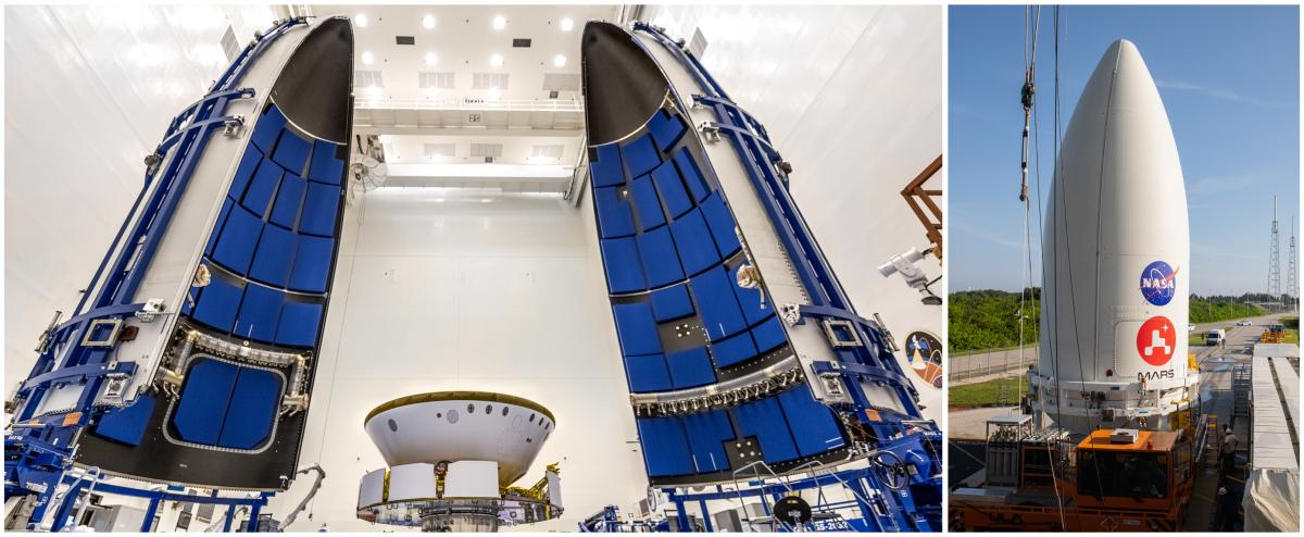 Left: NASA's Perseverance rover gets prepared for encapsulation in the Atlas V rocket's payload fairing (nose cone) at Kennedy Space Center in Florida on June 18. Right: On July 7, the payload fairing containing the rover sits atop the motorized payload t