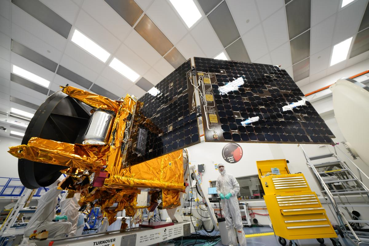 Engineers test the solar panel deployment of the United Arab Emirates' Hope probe. At launch, the panels will be folded, and they'll deploy to charge the probe's batteries after the probe is released by the second stage of the launch platform.