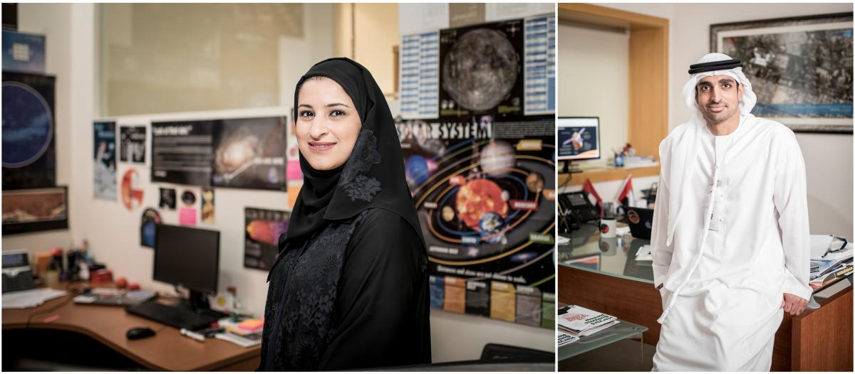 Left: Sarah Al Amiri, the United Arab Emirates' minister for advanced sciences and the science lead for the Emirates Mars Mission. Right: Omran Sharaf, project director of the Emirates Mars Mission at the Mohammed Bin Rashid Space Centre.