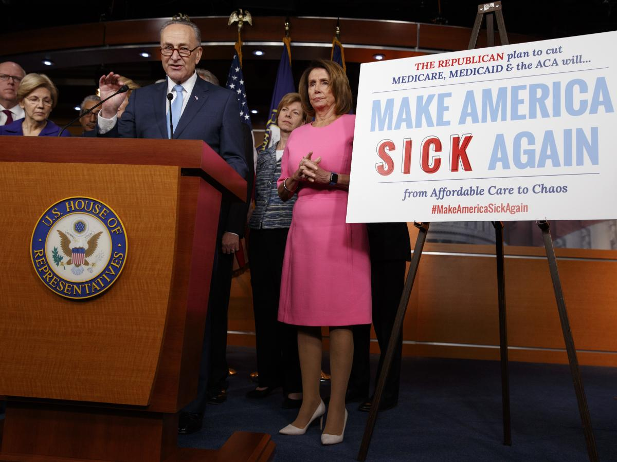 "Senate Minority Leader Chuck Schumer, joined by fellow congressional Democrats, brands what Republicans are trying to do when it comes to health care as ""Make America Sick Again."""