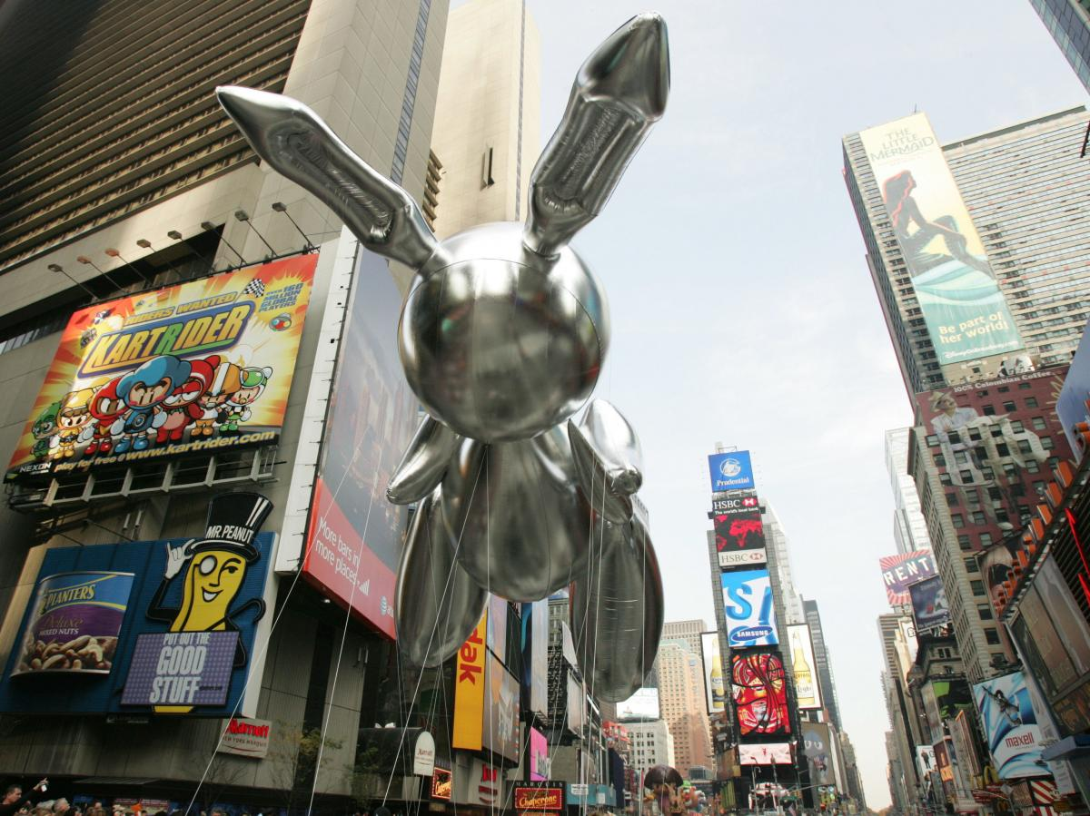 A balloon version of Rabbit floated in Times Square during the Macy's Thanksgiving Day Parade in 2007.