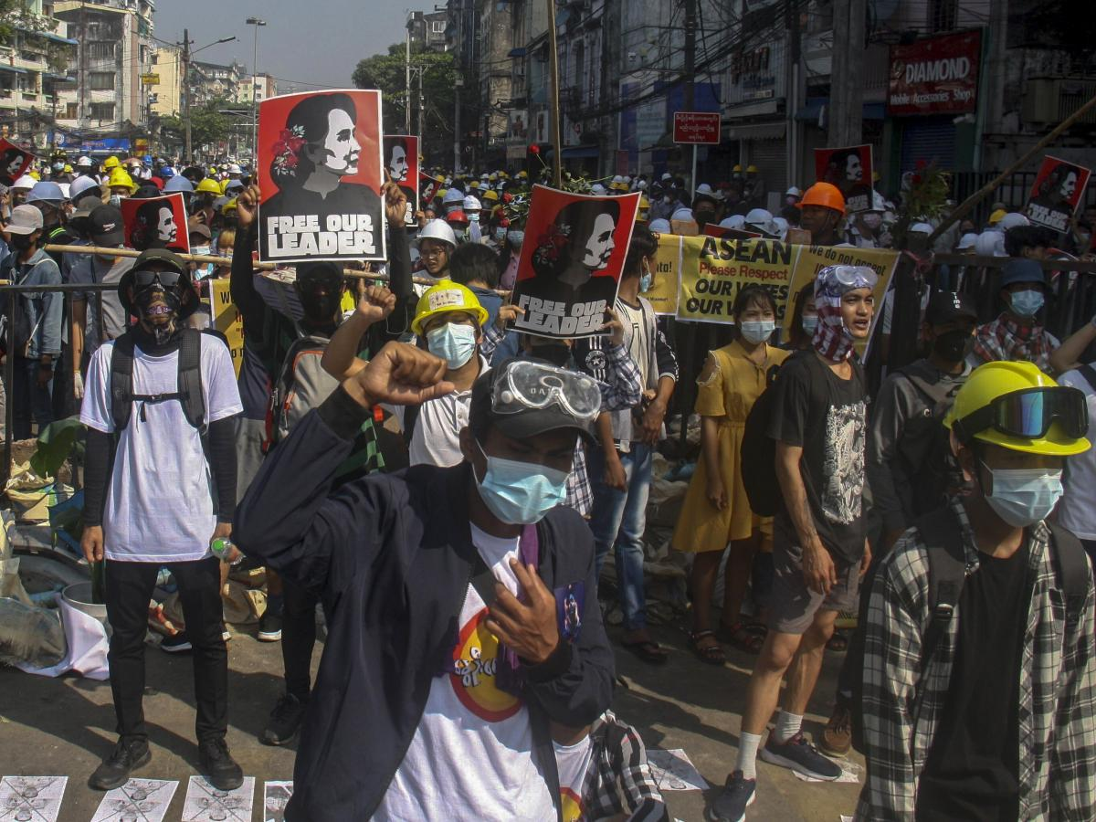 Crowds gather in Yangon, Myanmar, Tuesday to protest the military coup. Police used tear gas and rubber bullets to disperse the crowds. Just two days earlier the military killed at least 18 people and wounded more than 30 after firing into the crowds with