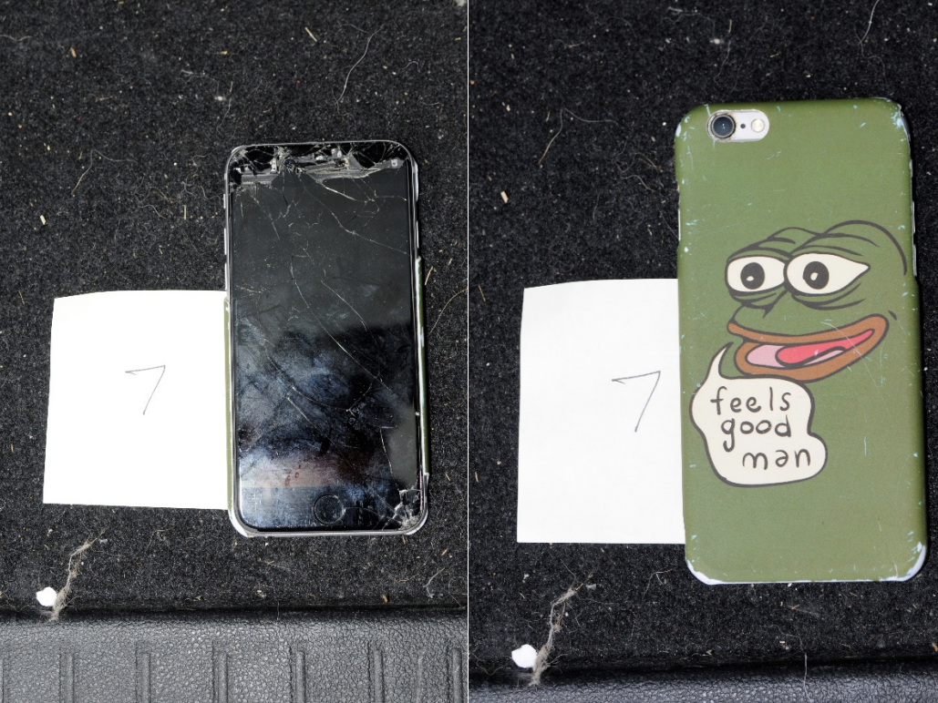 Federal prosecutors say agents found a smashed cell phone in Christian Secor's vehicle while executing a search warrant. The phone case includes the image of Pepe The Frog, a cartoon character that has been appropriated by far-right extremists.