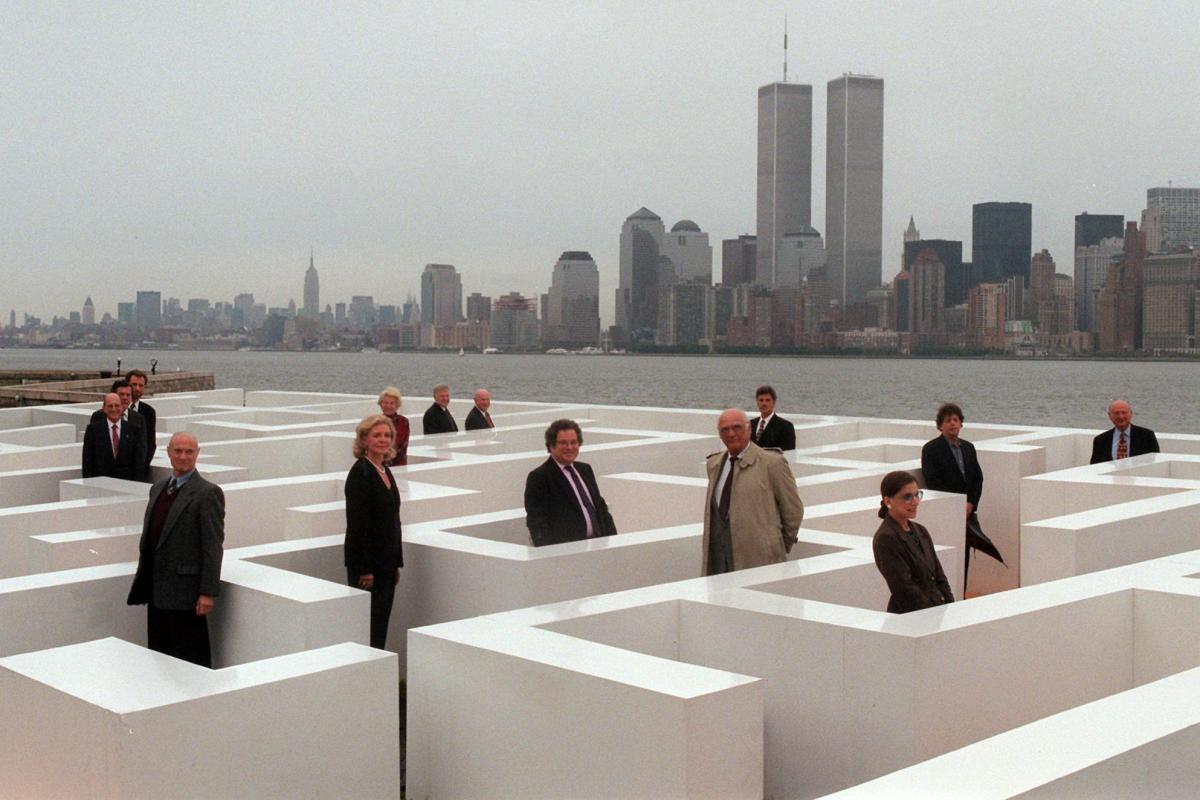 Ginsburg joins other prominent Jewish-Americans for a photograph while standing in a maze on Ellis Island in New York in 1996 as part of a project by Frederic Brenner.