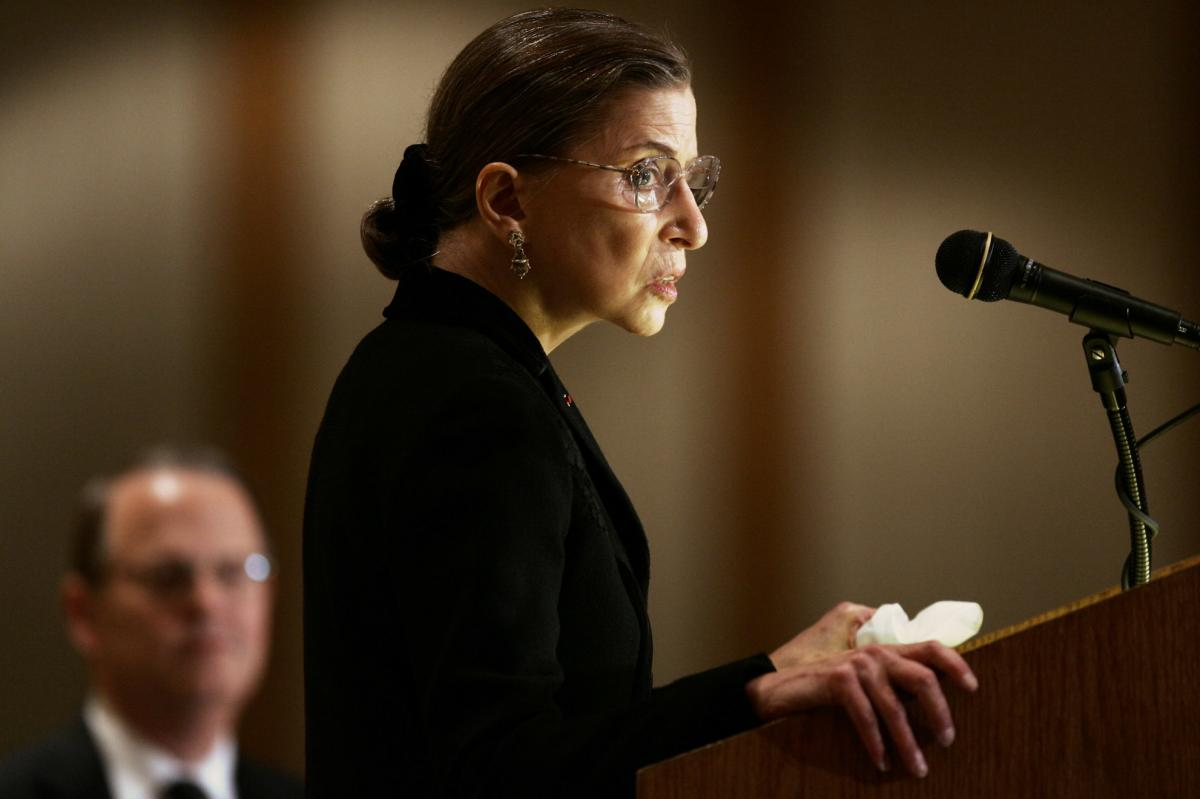 Ginsburg speaks during the annual meeting of the American Society of International Law in Washington in 2005.