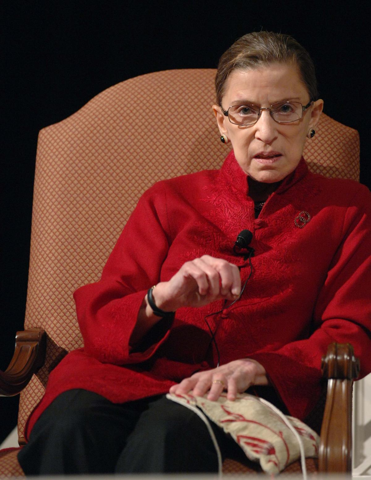 Ginsburg talks with filmmaker David Grubin about his PBS series, The Jewish Americans, in 2008.