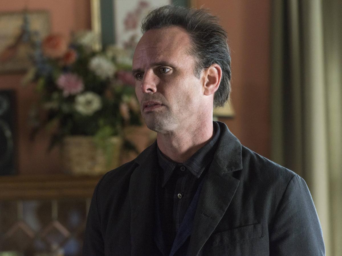 Walton Goggins plays Boyd Crowder on Justified. His character almost died in the pilot, but the writers liked his chemistry with actor Tim Olyphant, so they decided to keep him alive.