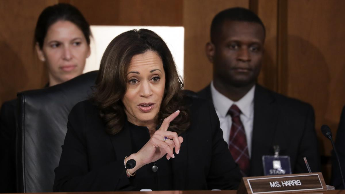 Sen. Kamala Harris, D-Calif., questions Supreme Court nominee Judge Brett Kavanaugh before the Senate Judiciary Committee on the third day of his Supreme Court confirmation Thursday.