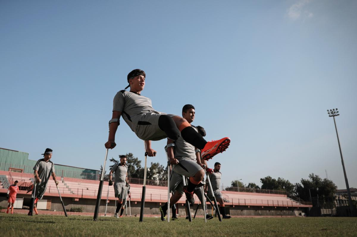 Mohammed Abu Ghaben plays soccer at Al-Jazeera Sports Club in an amputee league in Gaza City.