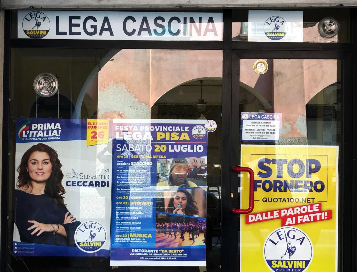 In Cascina, the League headquarters features a poster showing Mayor Susanna Ceccardi, who also recently won a seat in the European Parliament in Brussels.