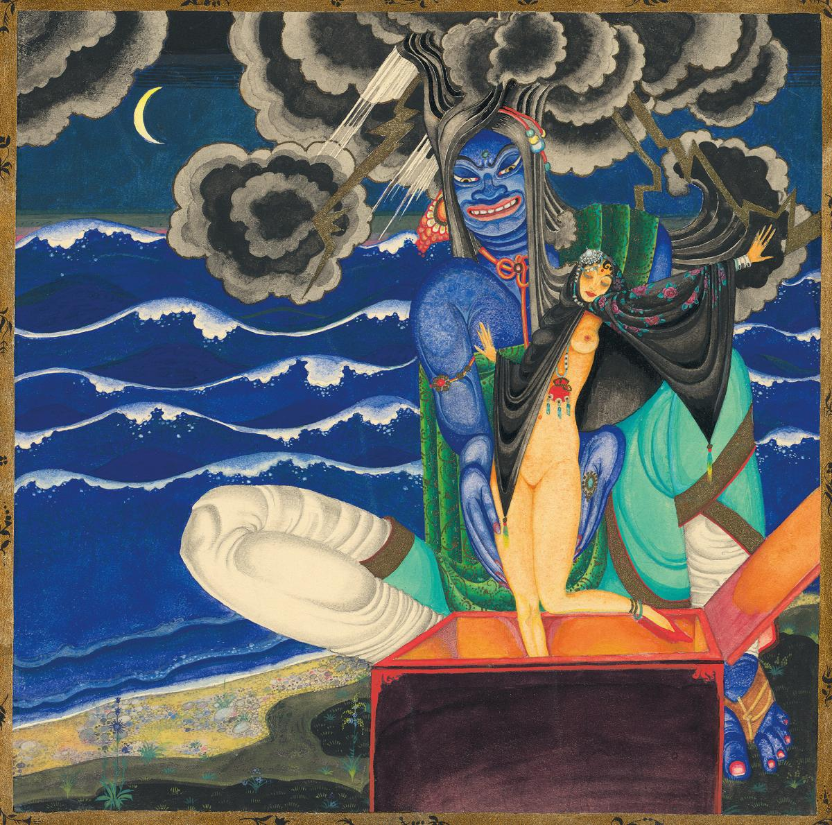 """This original watercolor is from """"The Story of King Schahriyar and His Brother Schahzena"""" and shows a genie releasing a beautiful woman from a chest."""