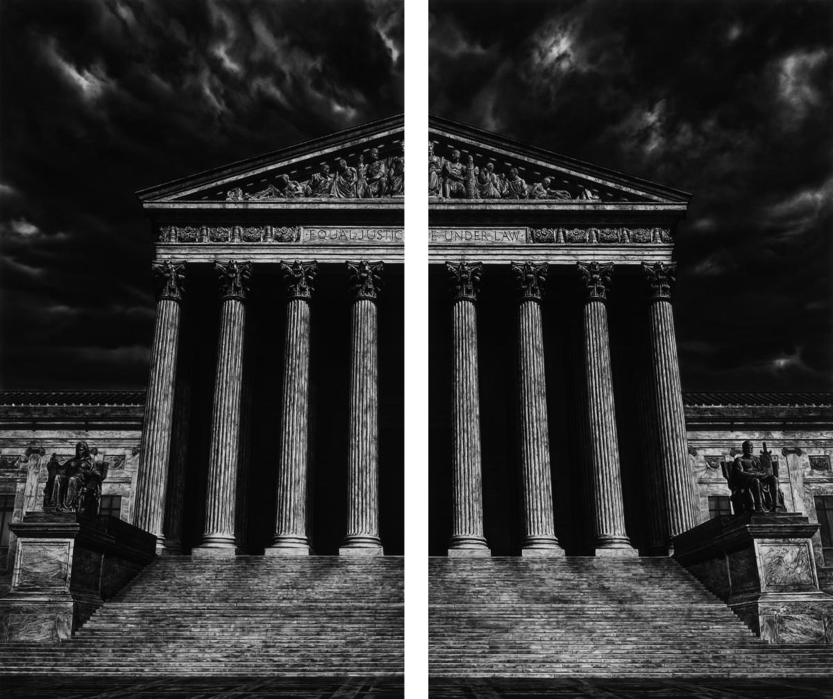 Robert Longo, Untitled (The Supreme Court of the United States (Split)), 2018. Charcoal on mounted paper.