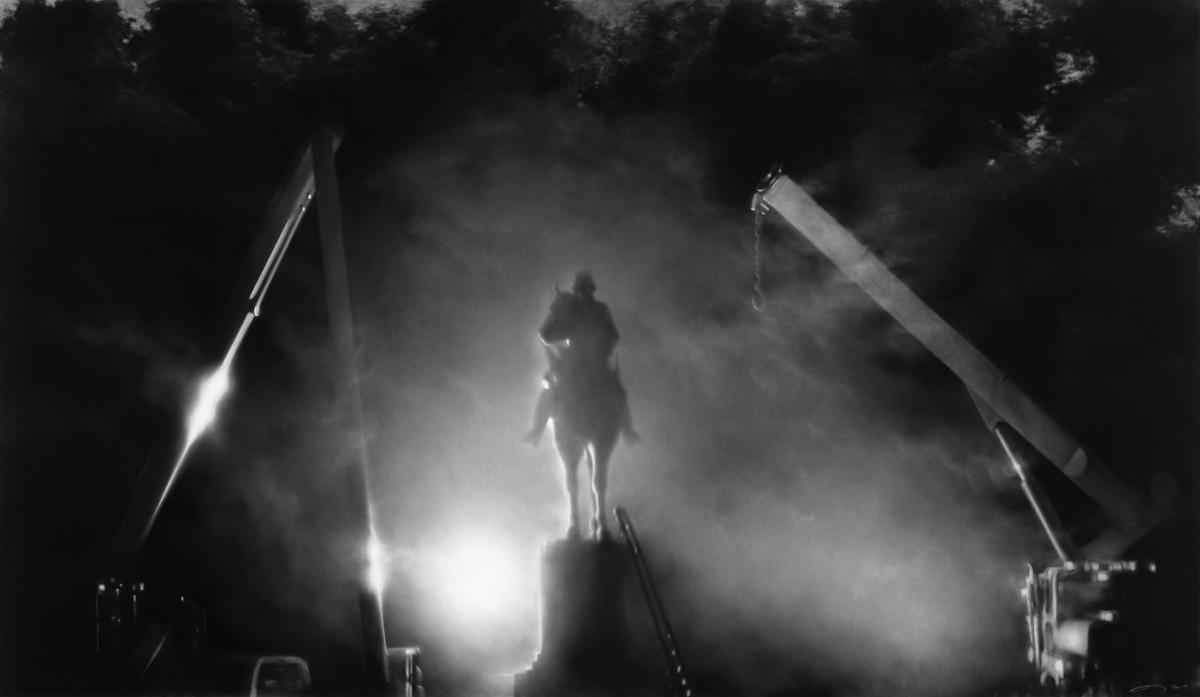 Robert Longo, Untitled (Nathan Bedford Forrest Statue Removal; Memphis, 2017), 2018. Charcoal on mounted paper.