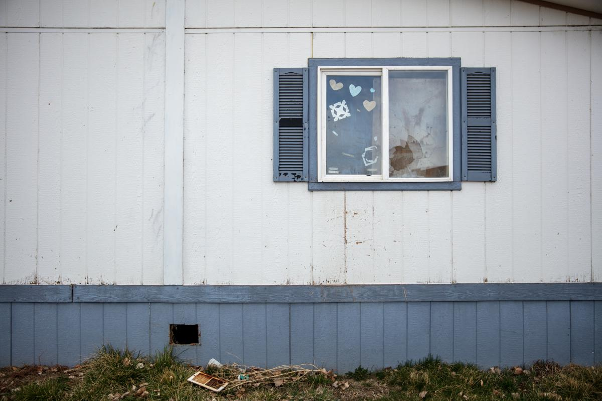 Gaught's previous home in a mobile home park in Billings, Mont., owned by Havenpark Communities. It sits empty after she was evicted in December 2020 for falling behind on rent for the land under her home.