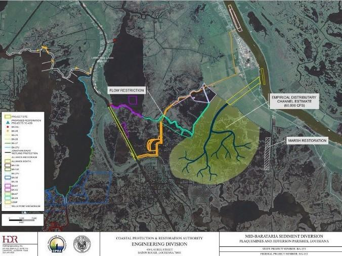An illustration shows how Louisiana's first proposed sediment diversion might build land by tapping the sediment-rich water of the Mississippi River.