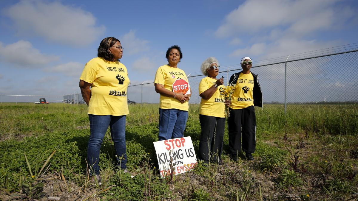 From left, Myrtle Felton, Sharon Lavigne, Gail LeBoeuf and Rita Cooper, members of RISE St. James, on property where Formosa Petrochemical wants to build a plastics complex in St. James Parish, La. Archaeologists have found the land may include up to seve