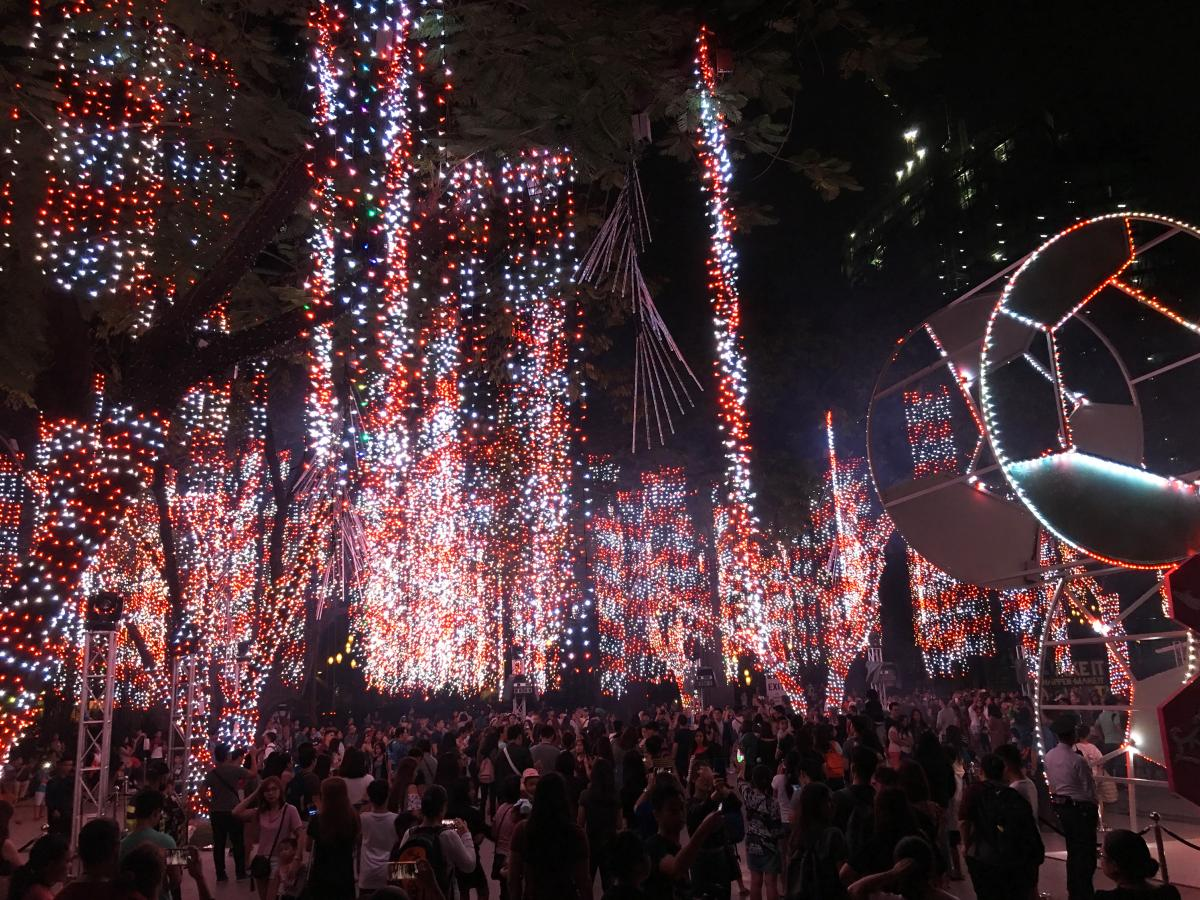 The colorful light show attracts tens of thousands to one of Manila's signature highlights this holiday season.