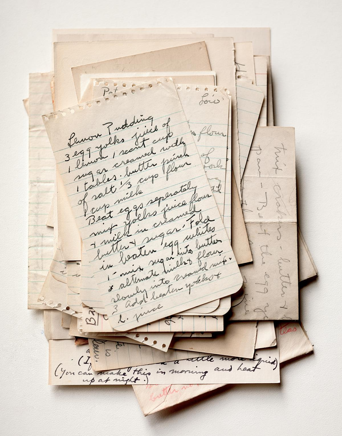 A selection of handwritten recipes discovered in Lee Krasner and Jackson Pollock's pantry.