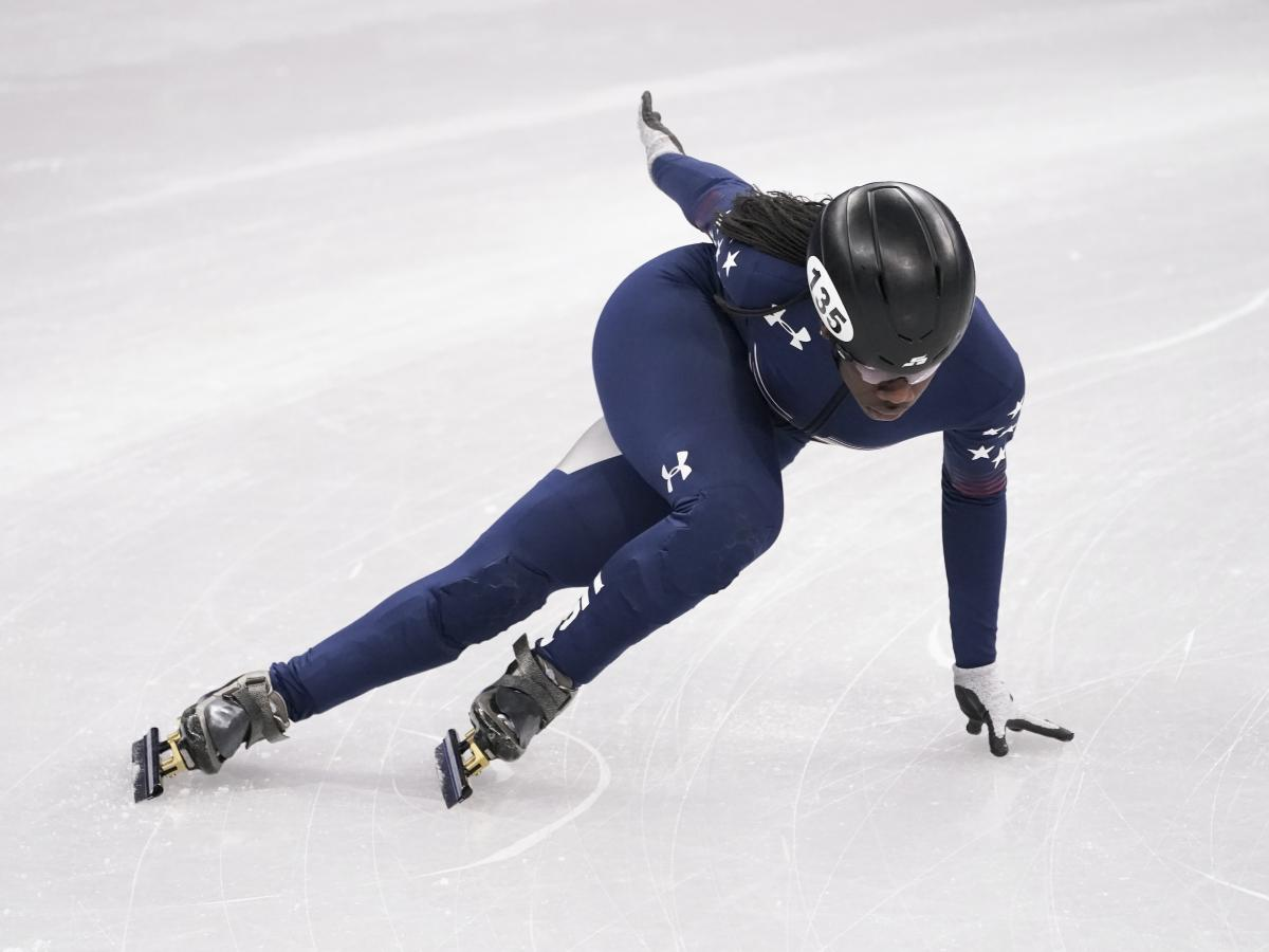 Biney skates during a short track speedskating training session in Gangneung on Feb. 6.
