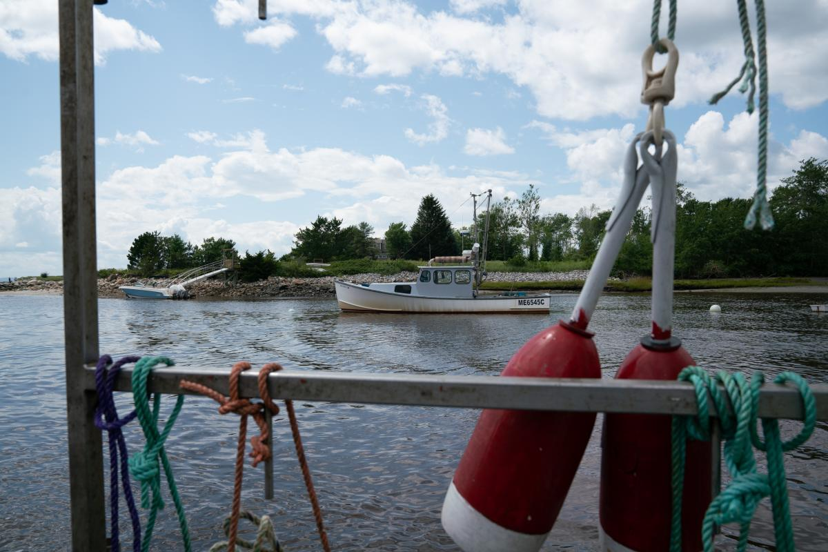 The view from Chris Welch's lobster boat Foolish Pride in the Kennebunk River in Southern Maine.